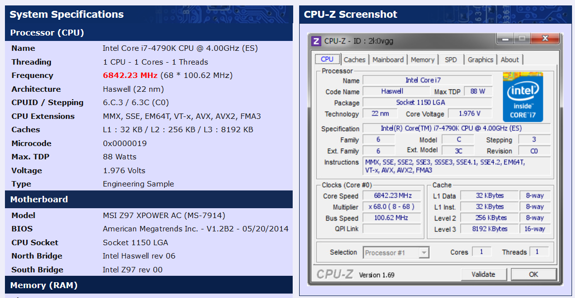 Toppc Hits 6842 MHz on Core i7 4790K Devil's Canyon with MSI